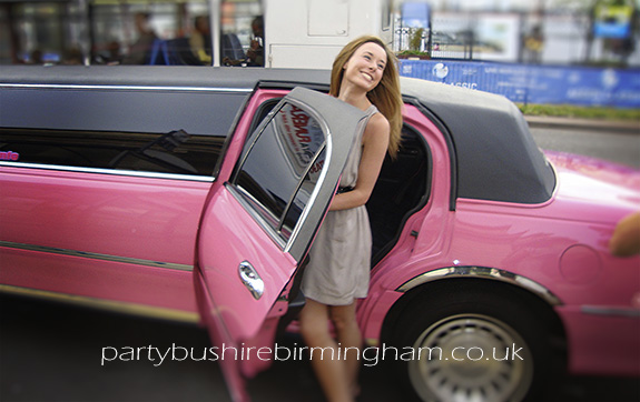 birmingham pink hen night limo